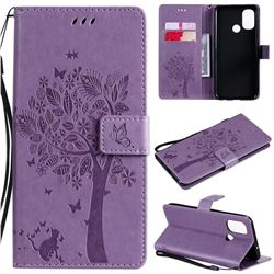 Embossing Butterfly Tree Leather Wallet Case for OnePlus Nord N100 - Violet