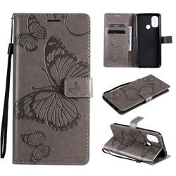 Embossing 3D Butterfly Leather Wallet Case for OnePlus Nord N100 - Gray