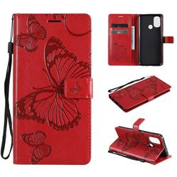 Embossing 3D Butterfly Leather Wallet Case for OnePlus Nord N100 - Red