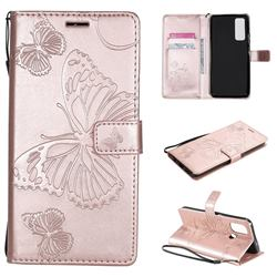 Embossing 3D Butterfly Leather Wallet Case for OnePlus Nord N100 - Rose Gold