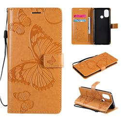 Embossing 3D Butterfly Leather Wallet Case for OnePlus Nord N100 - Yellow