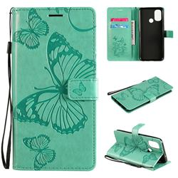 Embossing 3D Butterfly Leather Wallet Case for OnePlus Nord N100 - Green