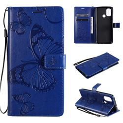 Embossing 3D Butterfly Leather Wallet Case for OnePlus Nord N100 - Blue