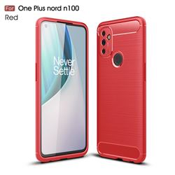 Luxury Carbon Fiber Brushed Wire Drawing Silicone TPU Back Cover for OnePlus Nord N100 - Red