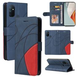 Luxury Two-color Stitching Leather Wallet Case Cover for OnePlus Nord N100 - Blue