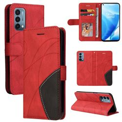 Luxury Two-color Stitching Leather Wallet Case Cover for OnePlus Nord N200 5G - Red