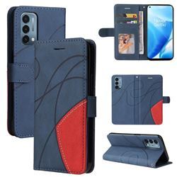 Luxury Two-color Stitching Leather Wallet Case Cover for OnePlus Nord N200 5G - Blue