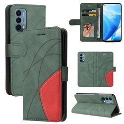 Luxury Two-color Stitching Leather Wallet Case Cover for OnePlus Nord N200 5G - Green