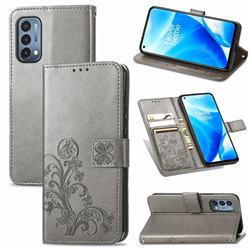 Embossing Imprint Four-Leaf Clover Leather Wallet Case for OnePlus Nord N200 5G - Grey
