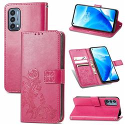 Embossing Imprint Four-Leaf Clover Leather Wallet Case for OnePlus Nord N200 5G - Rose Red