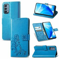 Embossing Imprint Four-Leaf Clover Leather Wallet Case for OnePlus Nord N200 5G - Blue