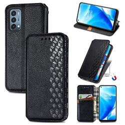 Ultra Slim Fashion Business Card Magnetic Automatic Suction Leather Flip Cover for OnePlus Nord N200 5G - Black