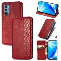 Ultra Slim Fashion Business Card Magnetic Automatic Suction Leather Flip Cover for OnePlus Nord N200 5G - Red