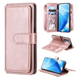 Multi-function Ten Card Slots and Photo Frame PU Leather Wallet Phone Case Cover for OnePlus Nord N200 5G - Rose Gold