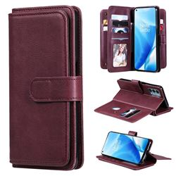 Multi-function Ten Card Slots and Photo Frame PU Leather Wallet Phone Case Cover for OnePlus Nord N200 5G - Claret