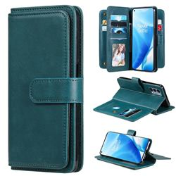 Multi-function Ten Card Slots and Photo Frame PU Leather Wallet Phone Case Cover for OnePlus Nord N200 5G - Dark Green