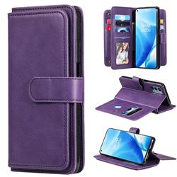 Multi-function Ten Card Slots and Photo Frame PU Leather Wallet Phone Case Cover for OnePlus Nord N200 5G - Violet