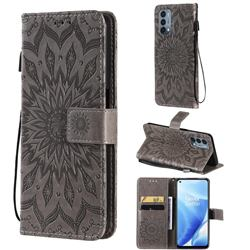 Embossing Sunflower Leather Wallet Case for OnePlus Nord N200 5G - Gray
