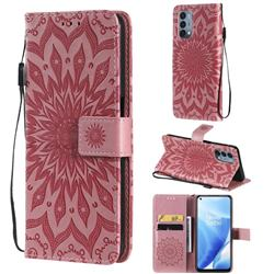 Embossing Sunflower Leather Wallet Case for OnePlus Nord N200 5G - Pink