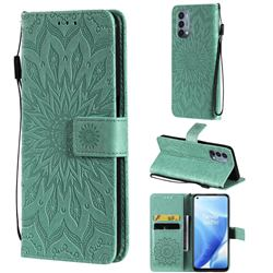 Embossing Sunflower Leather Wallet Case for OnePlus Nord N200 5G - Green