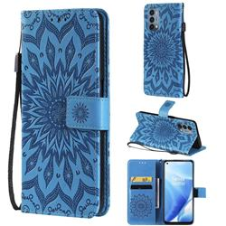 Embossing Sunflower Leather Wallet Case for OnePlus Nord N200 5G - Blue