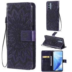 Embossing Sunflower Leather Wallet Case for OnePlus Nord N200 5G - Purple