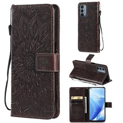 Embossing Sunflower Leather Wallet Case for OnePlus Nord N200 5G - Brown