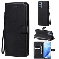 Retro Greek Classic Smooth PU Leather Wallet Phone Case for OnePlus Nord N200 5G - Black