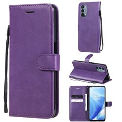 Retro Greek Classic Smooth PU Leather Wallet Phone Case for OnePlus Nord N200 5G - Purple