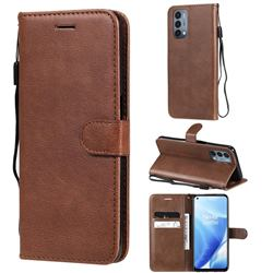 Retro Greek Classic Smooth PU Leather Wallet Phone Case for OnePlus Nord N200 5G - Brown