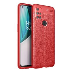 Luxury Auto Focus Litchi Texture Silicone TPU Back Cover for OnePlus Nord N10 5G - Red