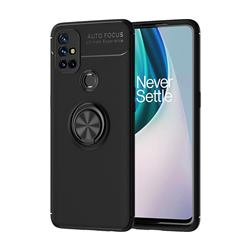 Auto Focus Invisible Ring Holder Soft Phone Case for OnePlus Nord N10 5G - Black