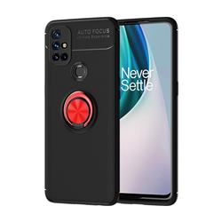 Auto Focus Invisible Ring Holder Soft Phone Case for OnePlus Nord N10 5G - Black Red