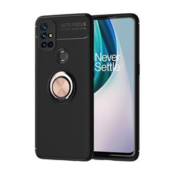 Auto Focus Invisible Ring Holder Soft Phone Case for OnePlus Nord N10 5G - Black Gold