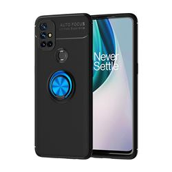 Auto Focus Invisible Ring Holder Soft Phone Case for OnePlus Nord N10 5G - Black Blue