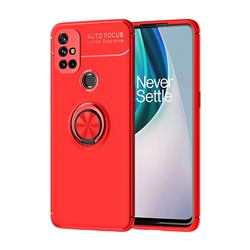 Auto Focus Invisible Ring Holder Soft Phone Case for OnePlus Nord N10 5G - Red