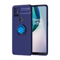Auto Focus Invisible Ring Holder Soft Phone Case for OnePlus Nord N10 5G - Blue