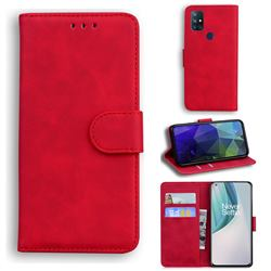 Retro Classic Skin Feel Leather Wallet Phone Case for OnePlus Nord N10 5G - Red