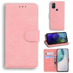 Retro Classic Skin Feel Leather Wallet Phone Case for OnePlus Nord N10 5G - Pink