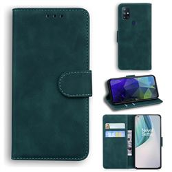 Retro Classic Skin Feel Leather Wallet Phone Case for OnePlus Nord N10 5G - Green