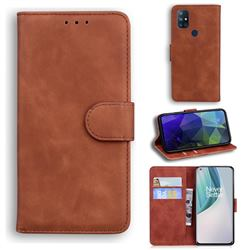 Retro Classic Skin Feel Leather Wallet Phone Case for OnePlus Nord N10 5G - Brown
