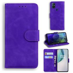 Retro Classic Skin Feel Leather Wallet Phone Case for OnePlus Nord N10 5G - Purple