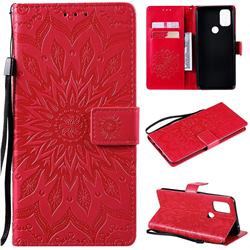 Embossing Sunflower Leather Wallet Case for OnePlus Nord N10 5G - Red