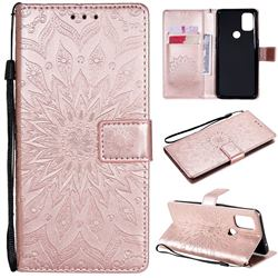 Embossing Sunflower Leather Wallet Case for OnePlus Nord N10 5G - Rose Gold