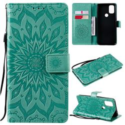 Embossing Sunflower Leather Wallet Case for OnePlus Nord N10 5G - Green