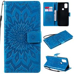 Embossing Sunflower Leather Wallet Case for OnePlus Nord N10 5G - Blue