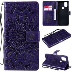 Embossing Sunflower Leather Wallet Case for OnePlus Nord N10 5G - Purple