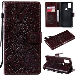Embossing Sunflower Leather Wallet Case for OnePlus Nord N10 5G - Brown