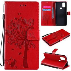 Embossing Butterfly Tree Leather Wallet Case for OnePlus Nord N10 5G - Red