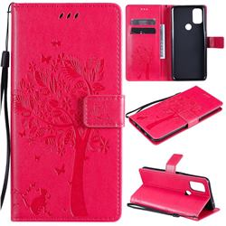 Embossing Butterfly Tree Leather Wallet Case for OnePlus Nord N10 5G - Rose